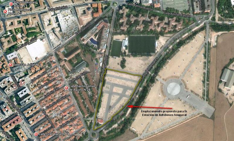 Plano de la supuesta nueva ubicación de la Estación de Autobuses